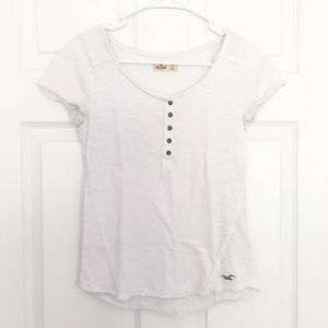 Hollister White Button Up Top